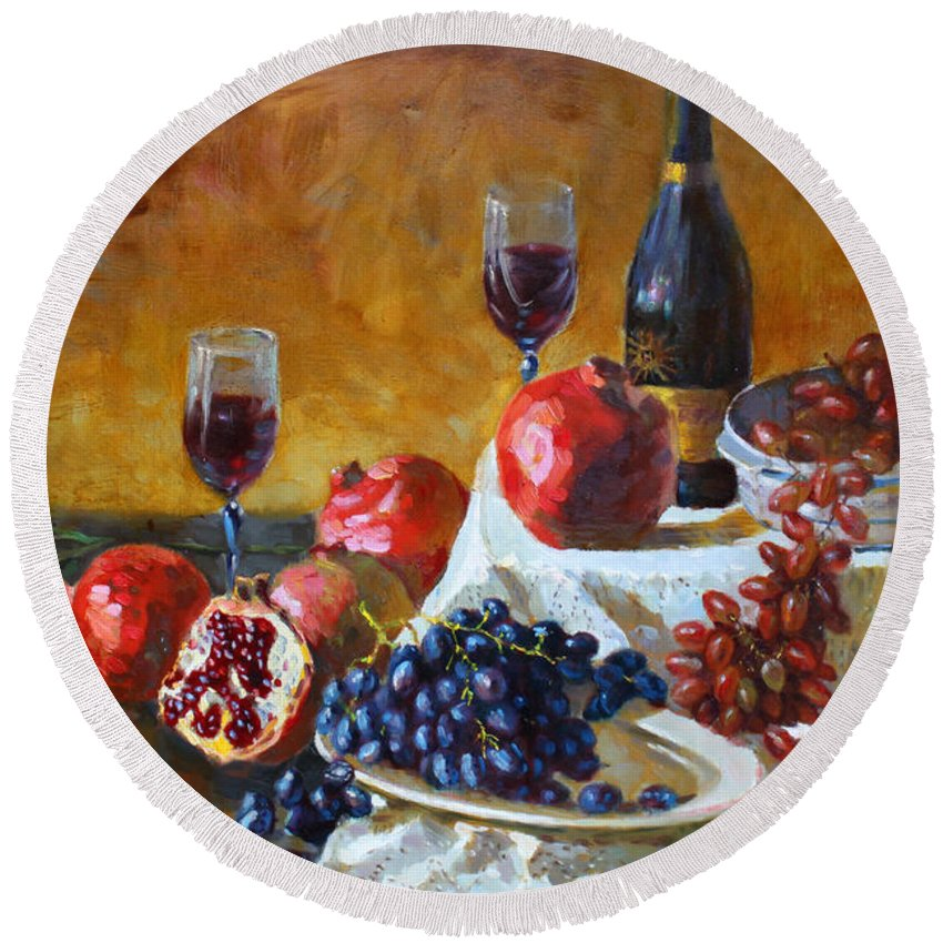 Grapes Round Beach Towel featuring the painting Grapes And Pomgranates by Ylli Haruni