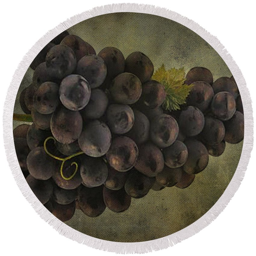 Jerry Cordeiro Photographs Round Beach Towel featuring the photograph Grapes by The Artist Project
