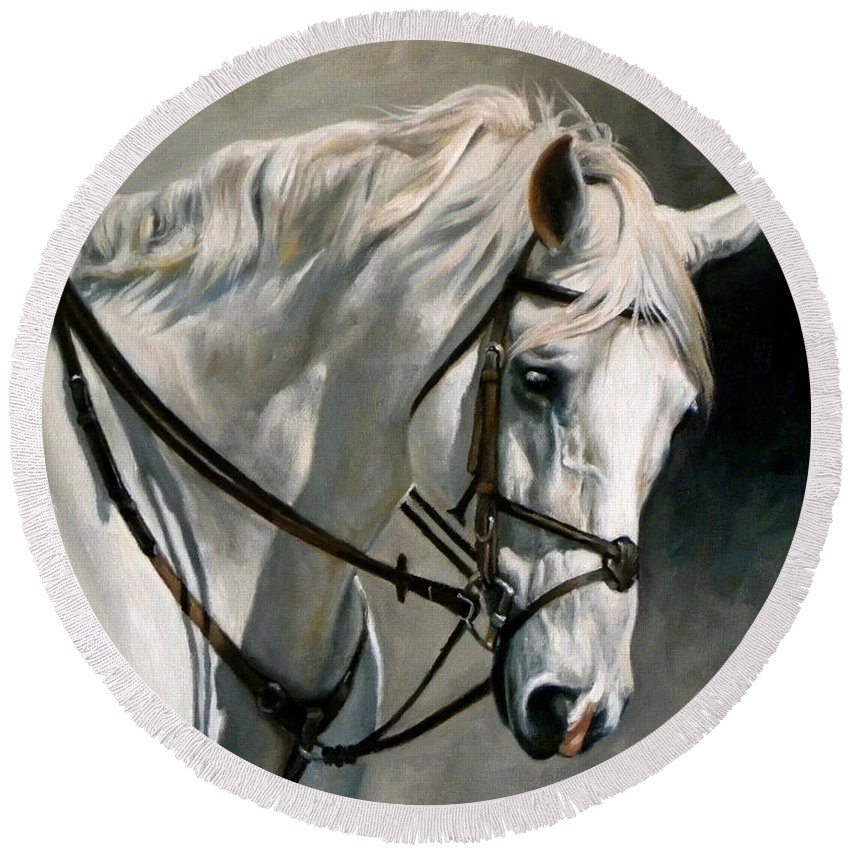 Equine Round Beach Towel featuring the painting Gray by Carole Andreen-Harris