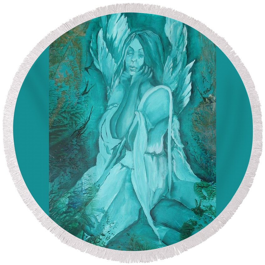 Angels Round Beach Towel featuring the painting Green Angel by Angelina Whittaker Cook