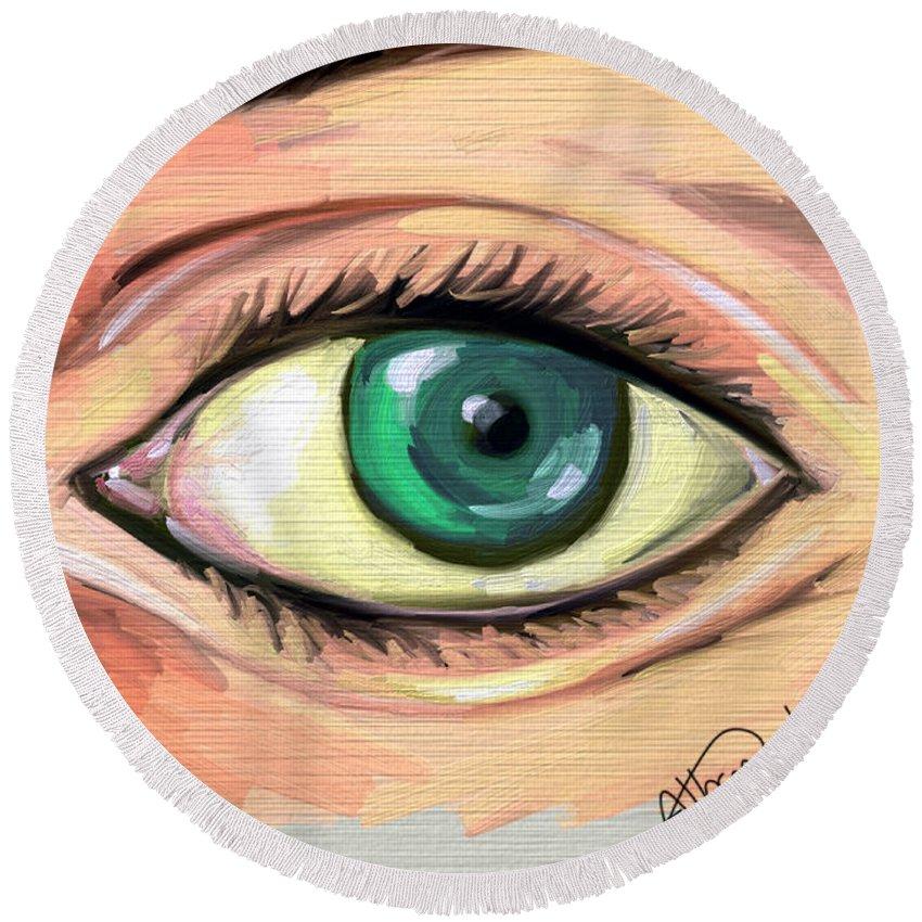 Eye Round Beach Towel featuring the digital art Green Eye by Alban Dizdari