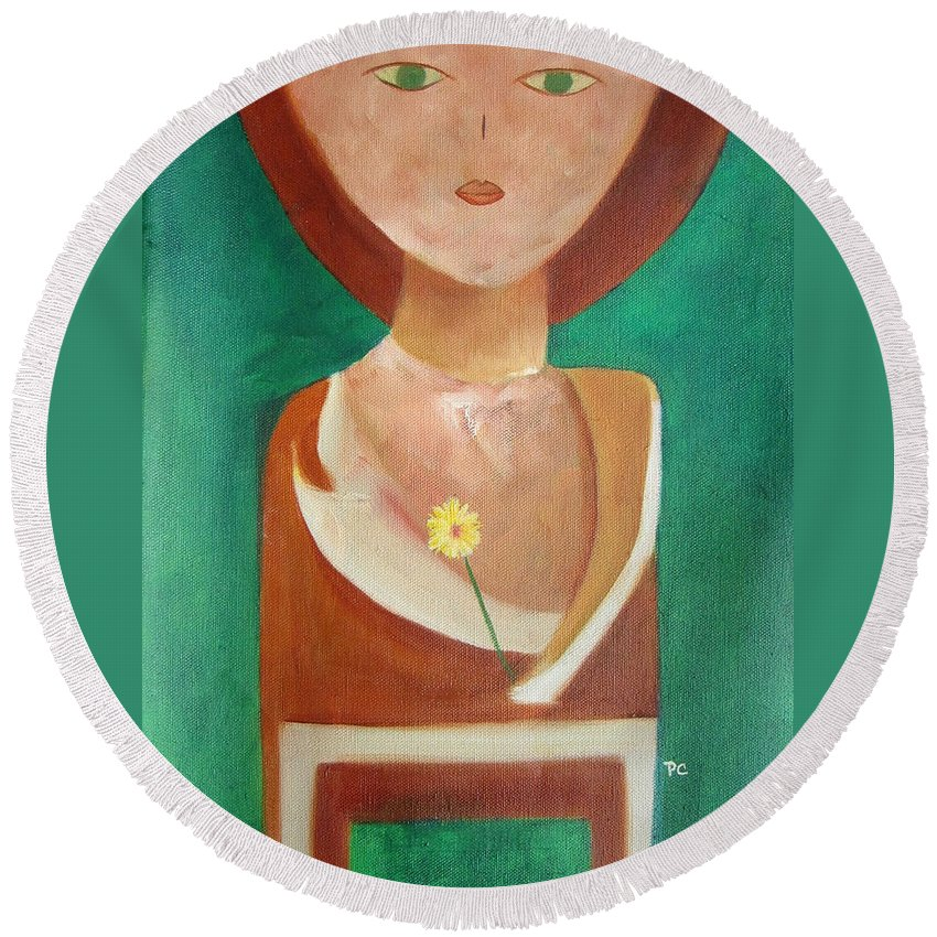 Original Round Beach Towel featuring the painting Green Eyes by Patricia Cleasby