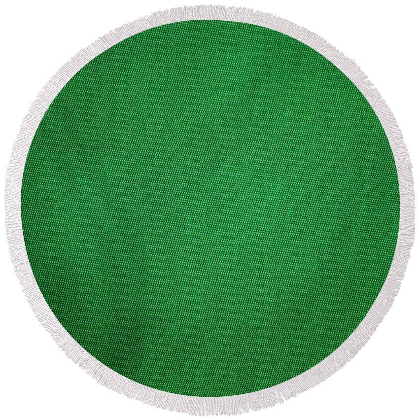 Background Round Beach Towel featuring the photograph Green Grunge Textile by Henrik Lehnerer