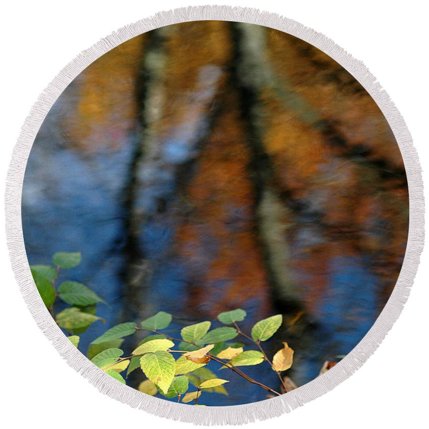 Green Leaves Round Beach Towel featuring the photograph Green Leaves And Autumn Reflection by Mike Nellums