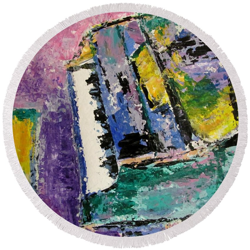 Music Round Beach Towel featuring the painting Green Piano Side View by Anita Burgermeister