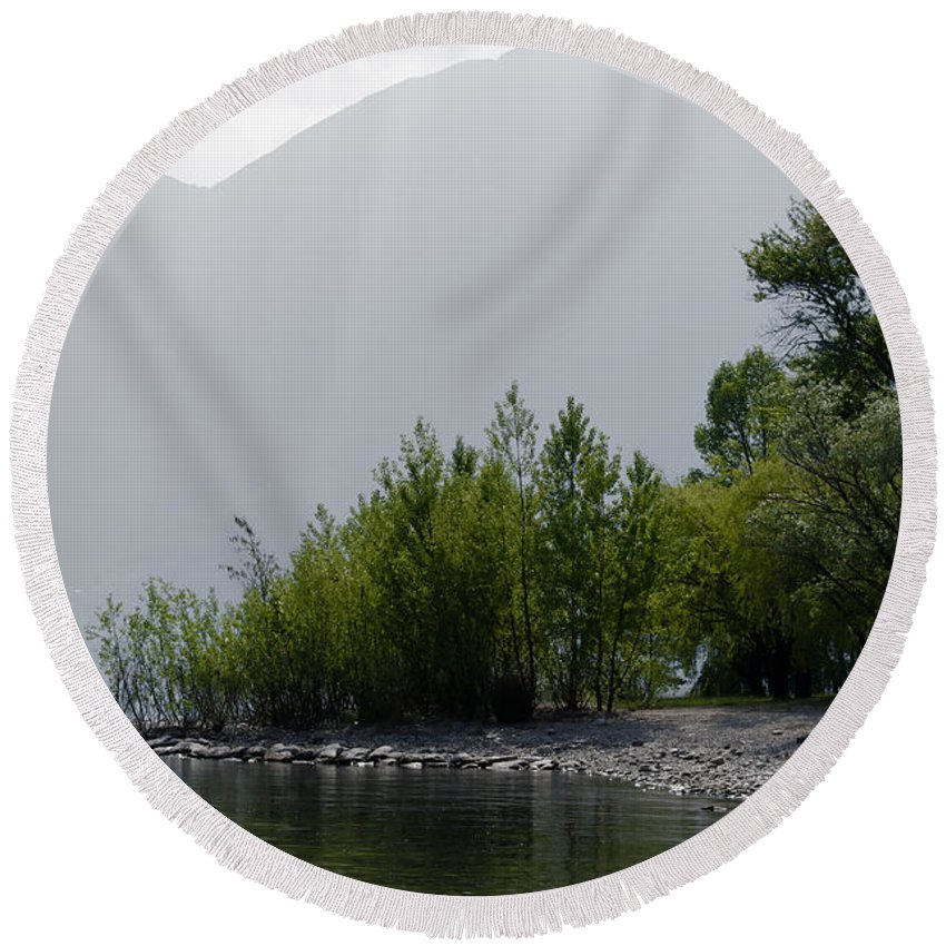 Trees Round Beach Towel featuring the photograph Green Trees by Mats Silvan