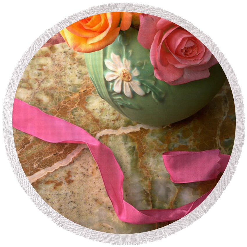 Rose Roses Vase Flower Still Life Pink Ribbon Round Beach Towel featuring the photograph Green Vase With Roses by Garry Gay