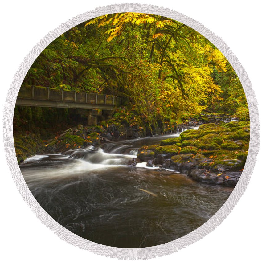 Creek Round Beach Towel featuring the photograph Grist Mill Creek by Mike Reid