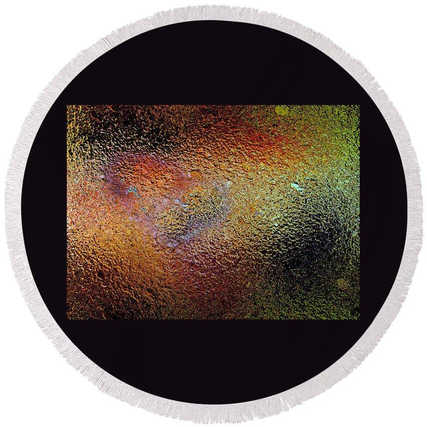 Texture .grunge .orange Green Yellow.red .gold.black Round Beach Towel featuring the digital art Grudge by Gary Yates