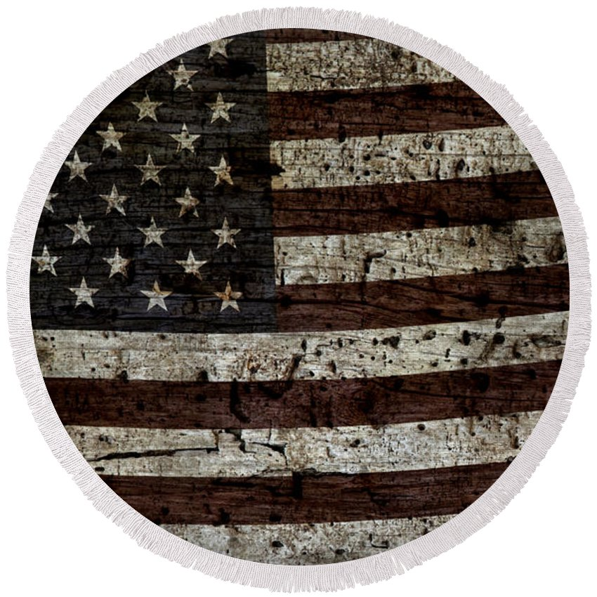 Usa Round Beach Towel featuring the photograph Grungy Wooden Textured Usa Flag2 by John Stephens