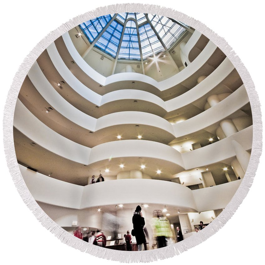 Abstract Round Beach Towel featuring the photograph Guggenheim 1 by Sean Wray