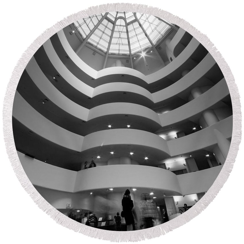 Abstract Round Beach Towel featuring the photograph Guggenheim 2 by Sean Wray
