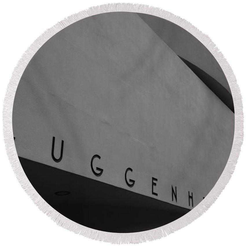 Guggenheim Museum Round Beach Towel featuring the photograph Guggenheim M by Eric Tressler