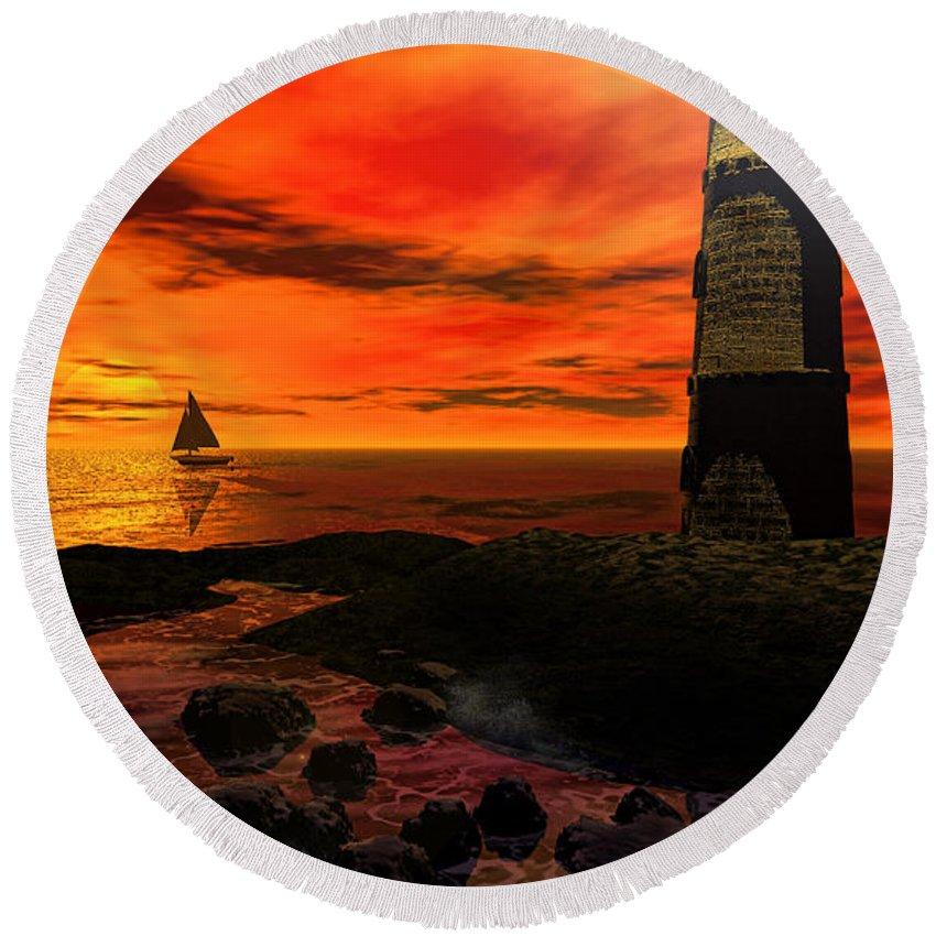 Lighthouse Round Beach Towel featuring the photograph Guiding Light - Lighthouse Art by Lourry Legarde