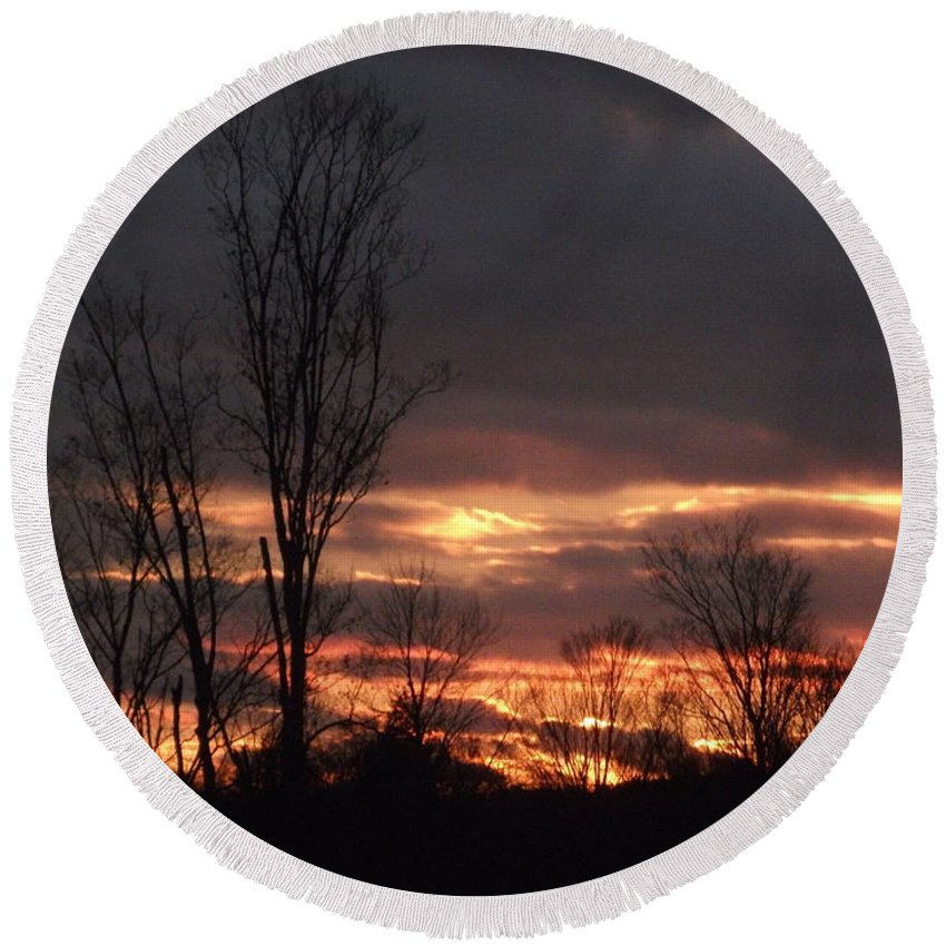 Sunset Round Beach Towel featuring the photograph Guilded Sunset by Christian Mattison