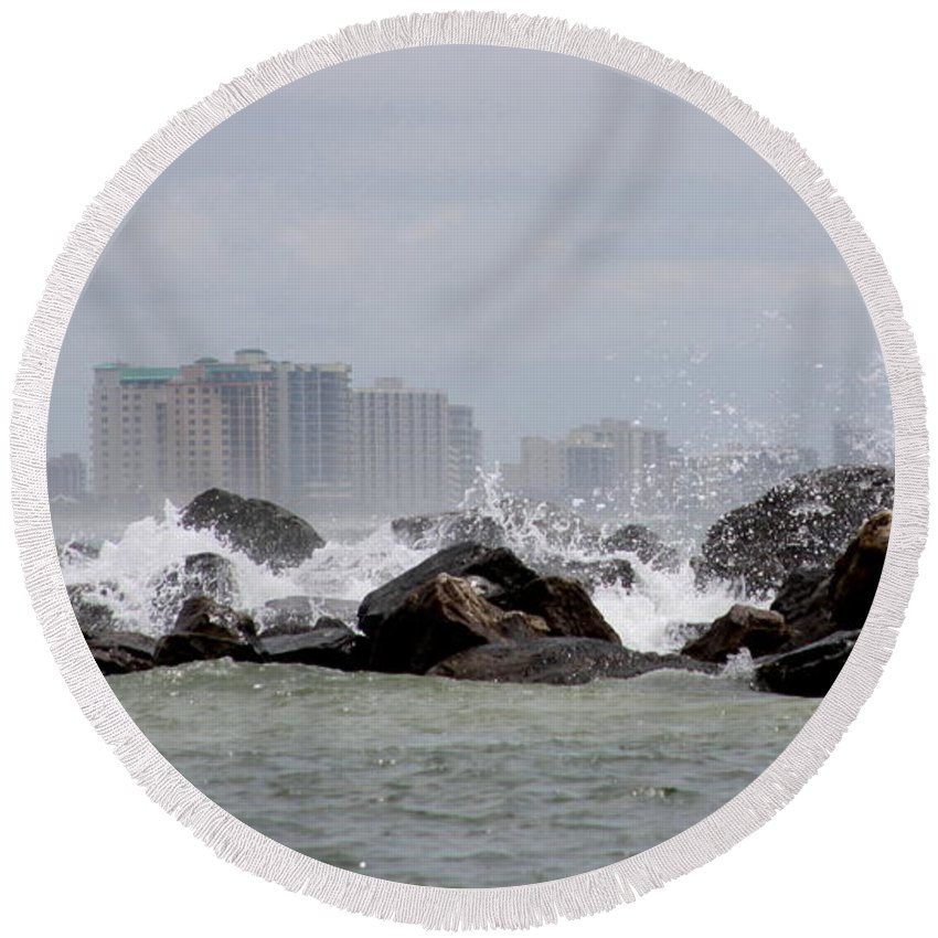 Gulf Of Mexico Round Beach Towel featuring the photograph Gulf Of Mexico - More Waves by Travis Truelove