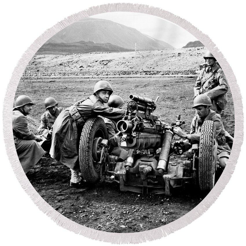 War Round Beach Towel featuring the photograph Gun Crew Prepares To Fire A 37mm by Stocktrek Images