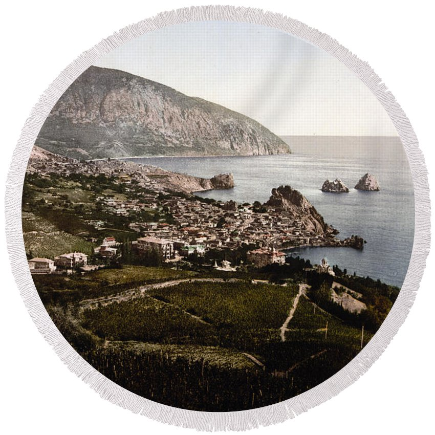 Crimea Round Beach Towel featuring the photograph Gursuff - Crimea - Ukraine by International Images