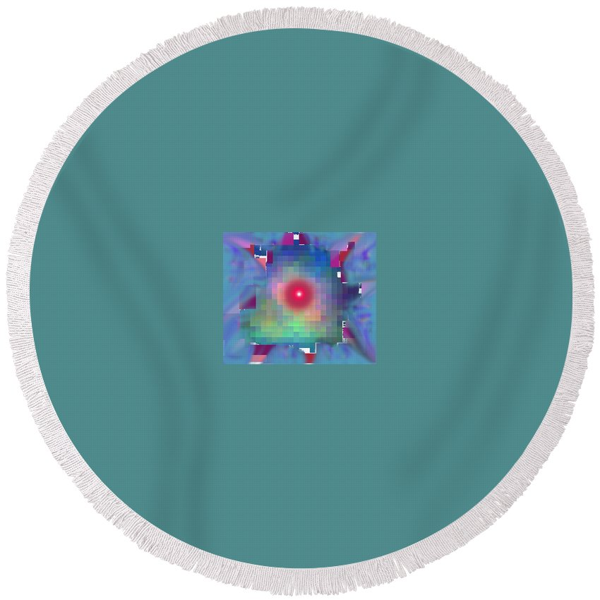 Abstract Round Beach Towel featuring the digital art Hacked by Ian MacDonald