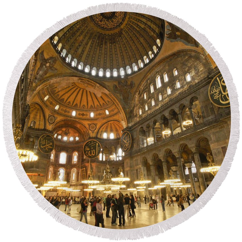 Europe Round Beach Towel featuring the photograph Hagia Sophia In Istanbul by Michele Burgess
