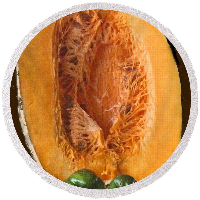 Caribbean Round Beach Towel featuring the photograph Half A Caribbean Pumpkin by Ian MacDonald