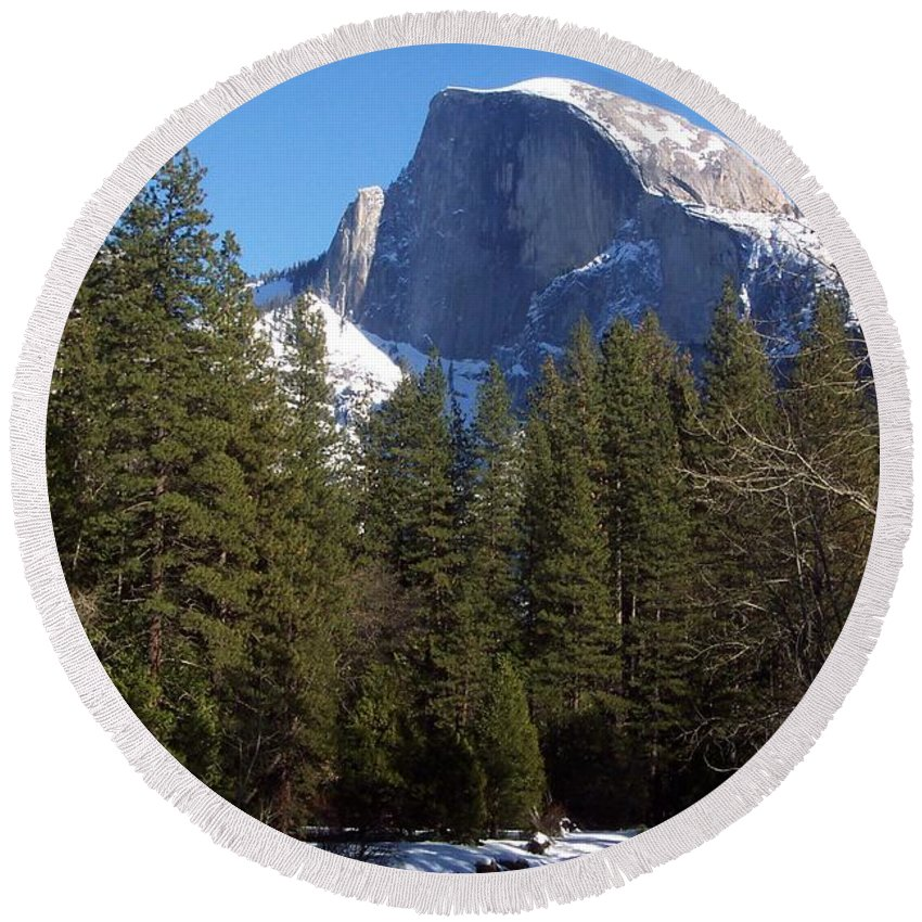 Yosemite Round Beach Towel featuring the photograph Half Dome Winter by Eric Tressler