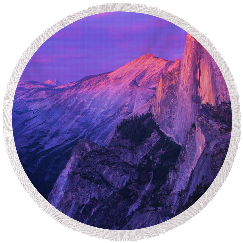 Half Dome Round Beach Towel featuring the photograph Half Purple Dome by Adam Jewell