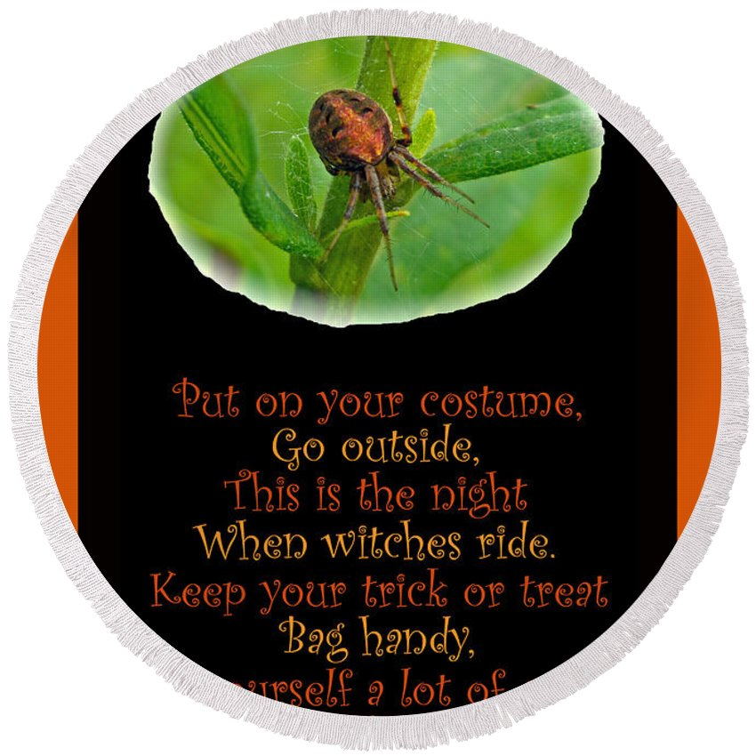Halloween Round Beach Towel featuring the photograph Halloween Card - Spider And Poem by Mother Nature
