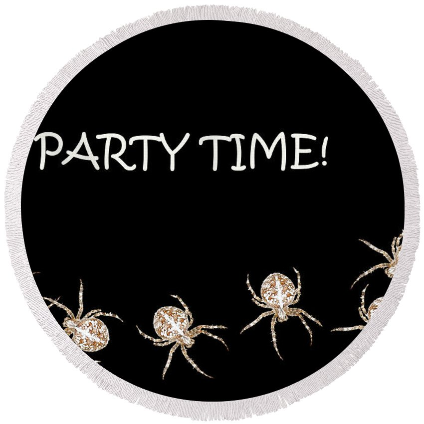 Halloween Round Beach Towel featuring the photograph Halloween Greetings. Spider Party Series #01 by Ausra Huntington nee Paulauskaite