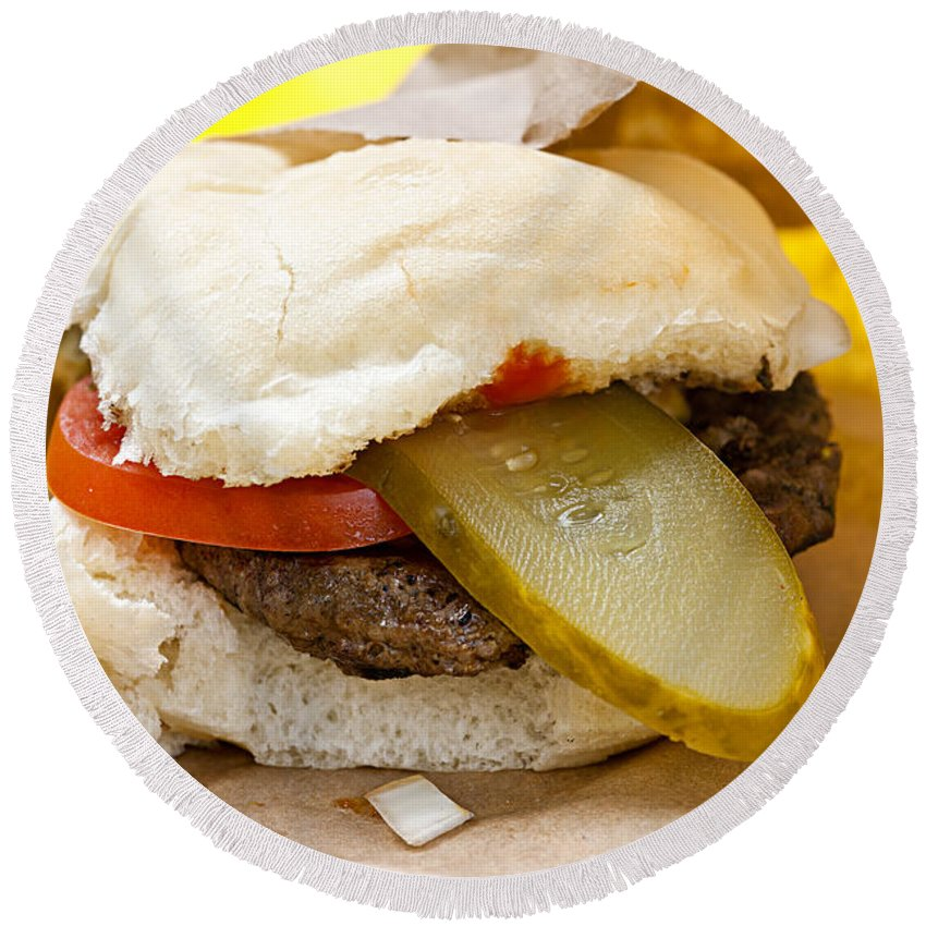 Hamburger Round Beach Towel featuring the photograph Hamburger With Pickle And Tomato by Elena Elisseeva
