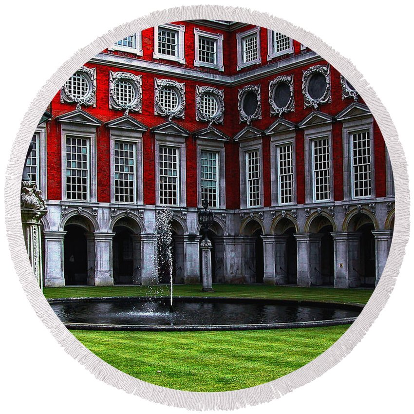 Architecture Round Beach Towel featuring the photograph Hampton Court Palace by Kathleen K Parker