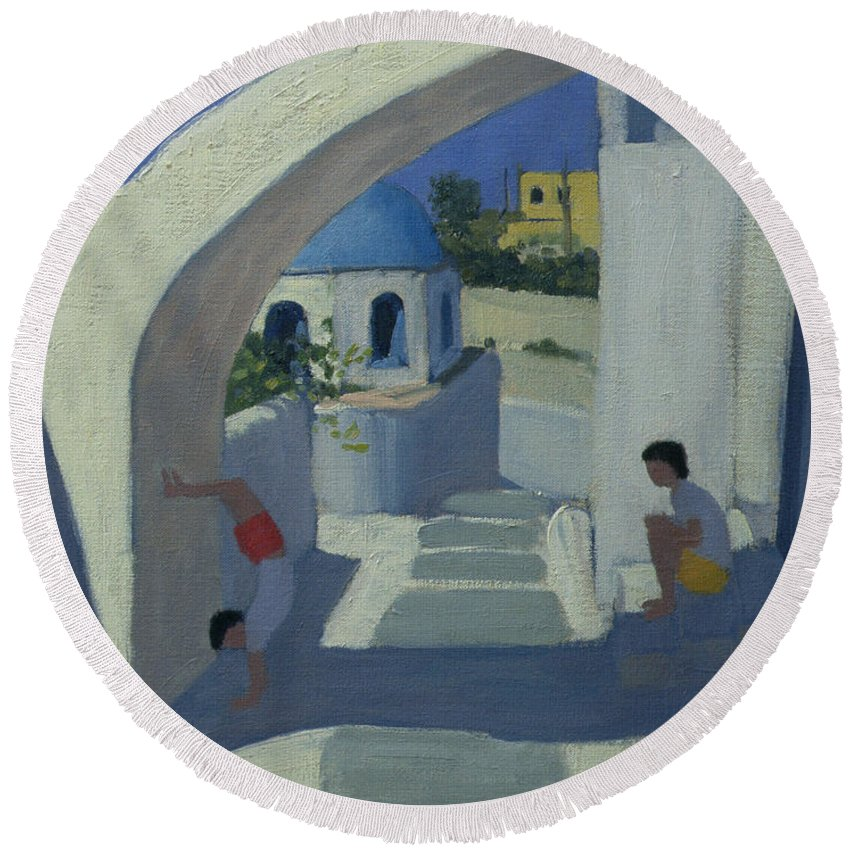Greek Island Round Beach Towel featuring the painting Handstand by Andrew Macara