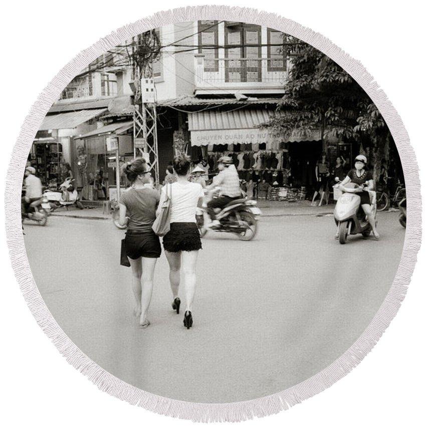 Asia Round Beach Towel featuring the photograph Hanoi Girls by Shaun Higson
