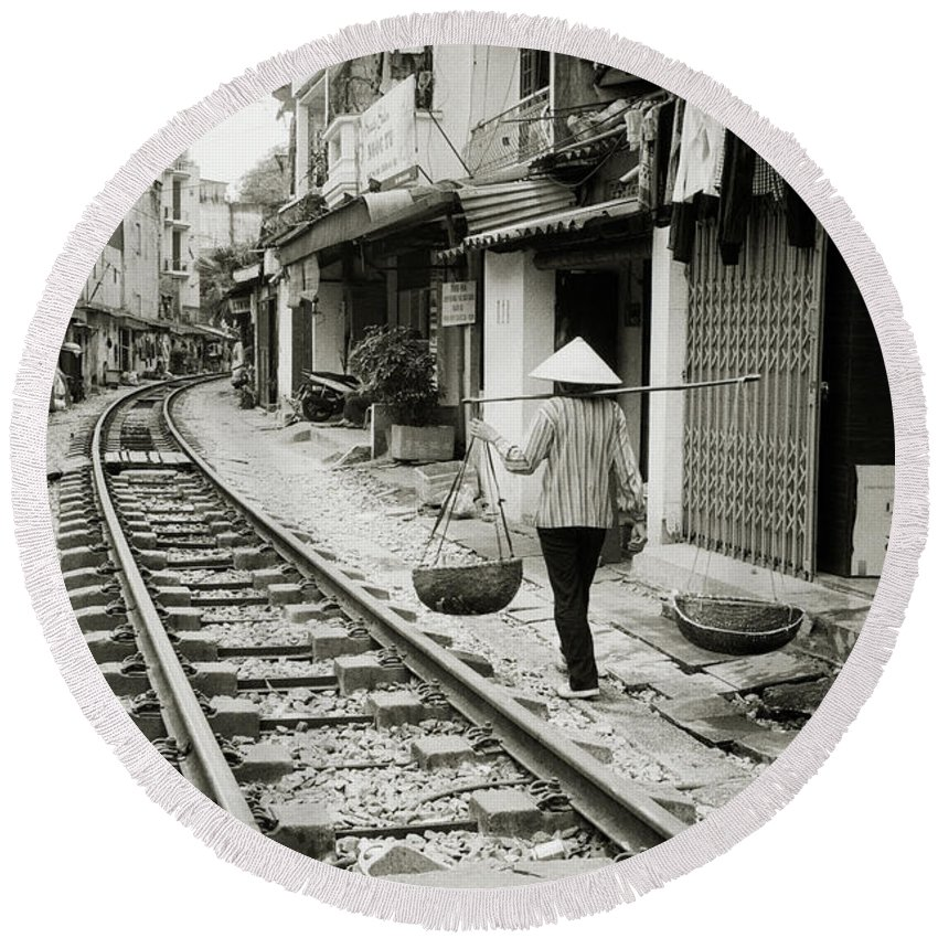 Asia Round Beach Towel featuring the photograph Hanoi Life by Shaun Higson