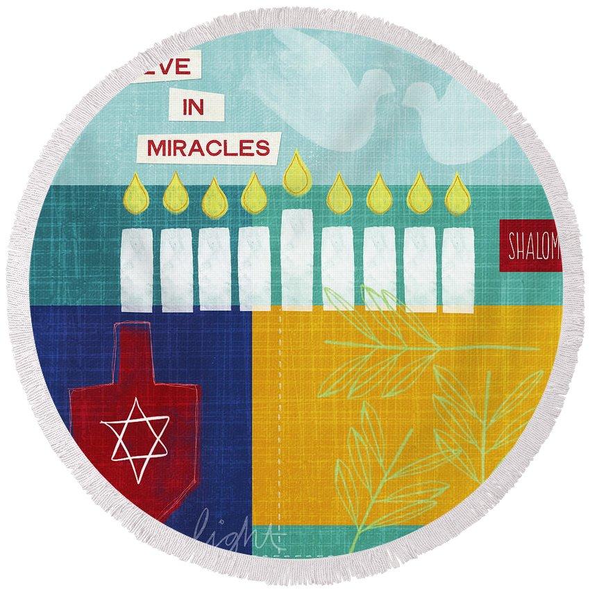 Hanukkah Round Beach Towel featuring the painting Hanukkah Miracles by Linda Woods
