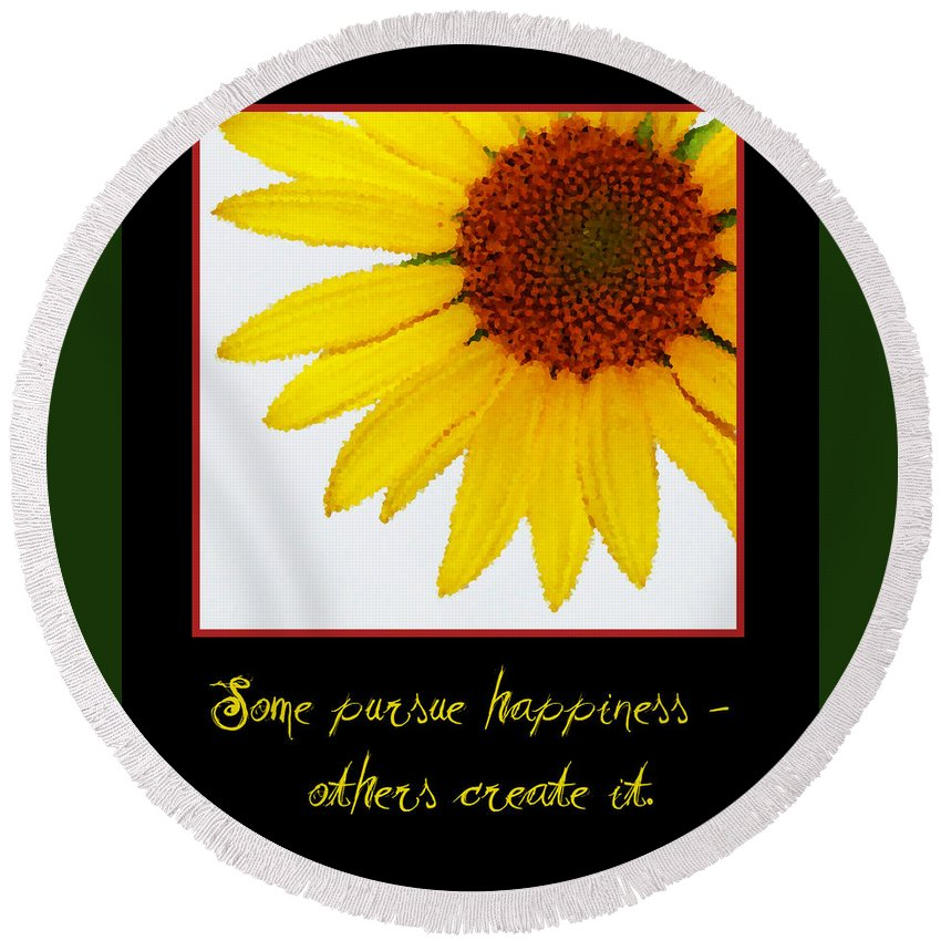 Happiness Round Beach Towel featuring the digital art Happiness by Tina Meador