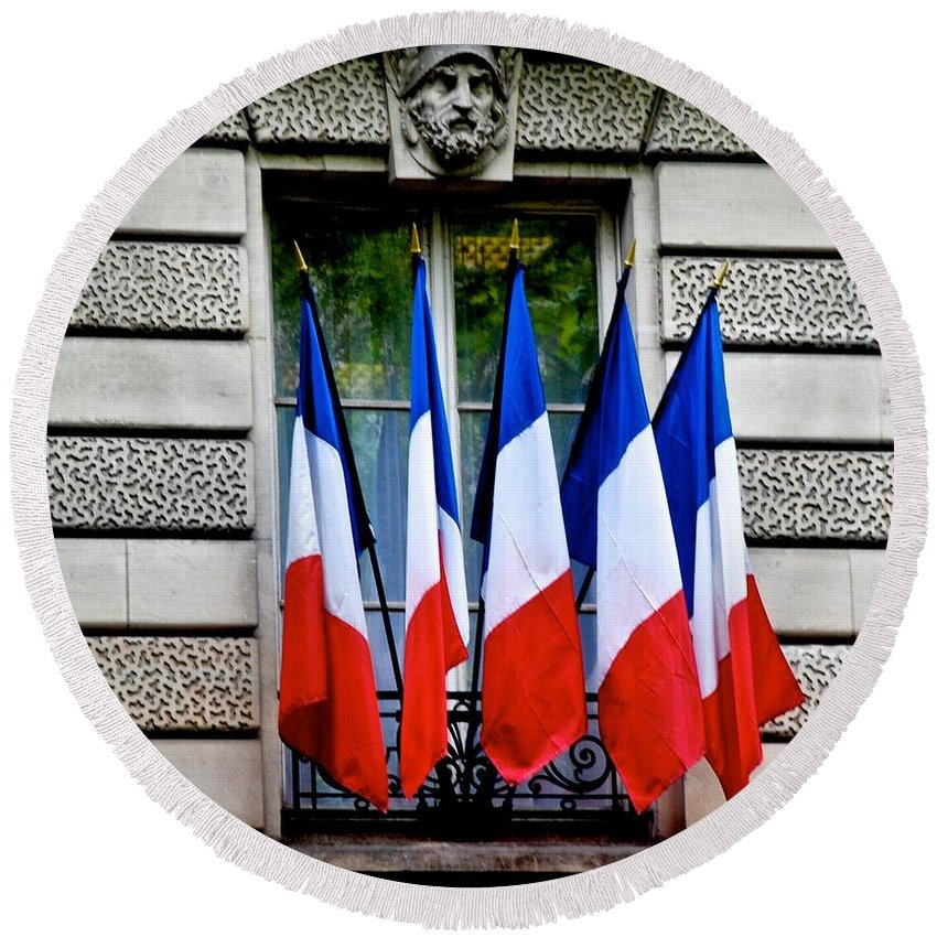 Bastille Day Round Beach Towel featuring the photograph Happy Bastille Day by Eric Tressler