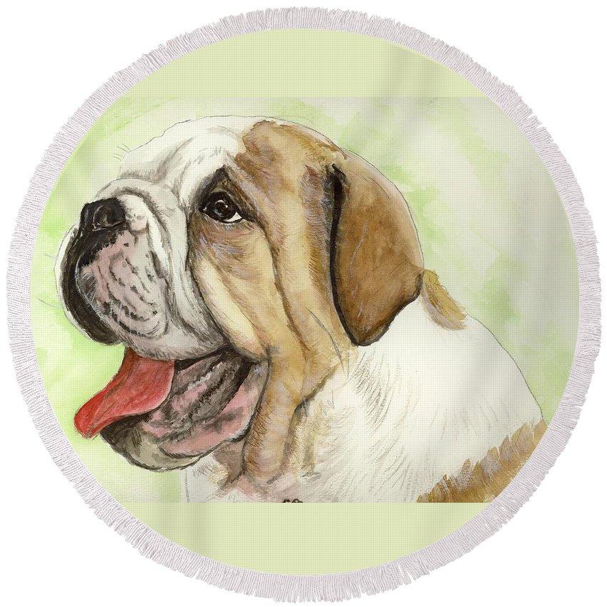 English Bulldog Round Beach Towel featuring the painting Happy Bulldog by Carol Blackhurst