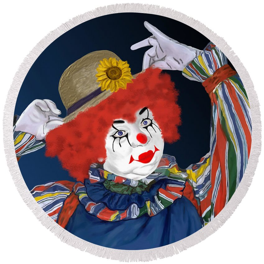 Happy Clown Round Beach Towel featuring the painting Happy Clown by Methune Hively