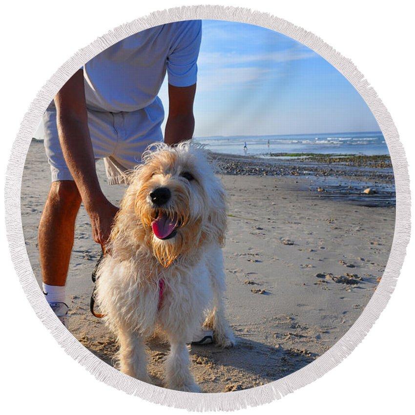 Dog Round Beach Towel featuring the photograph Happy Fella by Christine Stonebridge