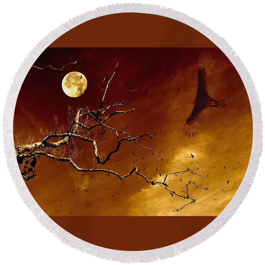 Vulture Round Beach Towel featuring the digital art Happy Halloween by Jenny Gandert
