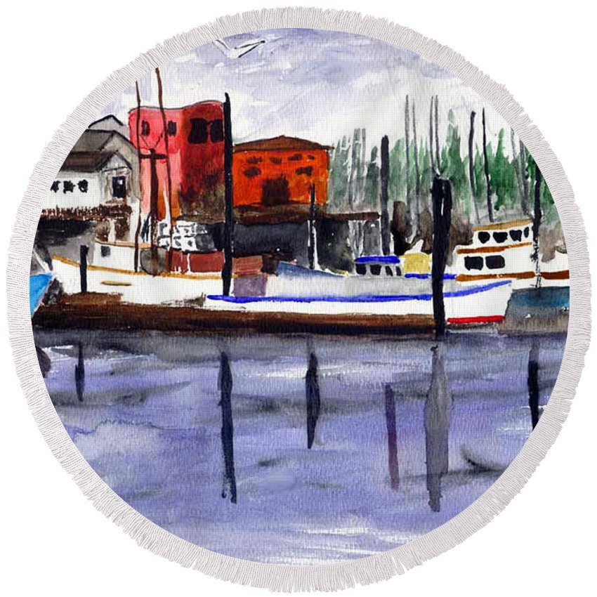 Watercolor Round Beach Towel featuring the painting Harbor Fishing Boats by Chriss Pagani