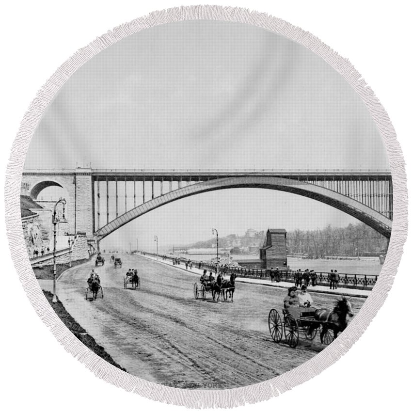 george Washington Bridge Round Beach Towel featuring the photograph Harlem River Speedway Scene Beneath The George Washington Bridge by International Images