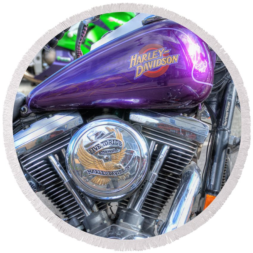 Harley Davidson Round Beach Towel featuring the photograph Harley Davidson 3 by Steve Purnell
