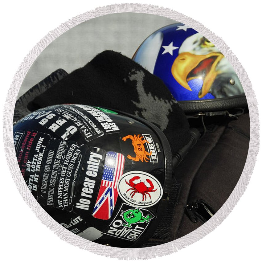 Harley Round Beach Towel featuring the photograph Harley Helmets by Cindy Manero