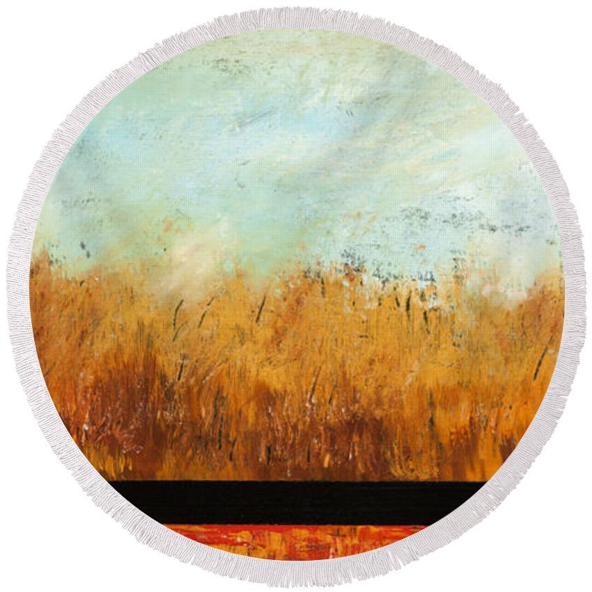 Landscape Round Beach Towel featuring the painting Harmony by Rose Lynch