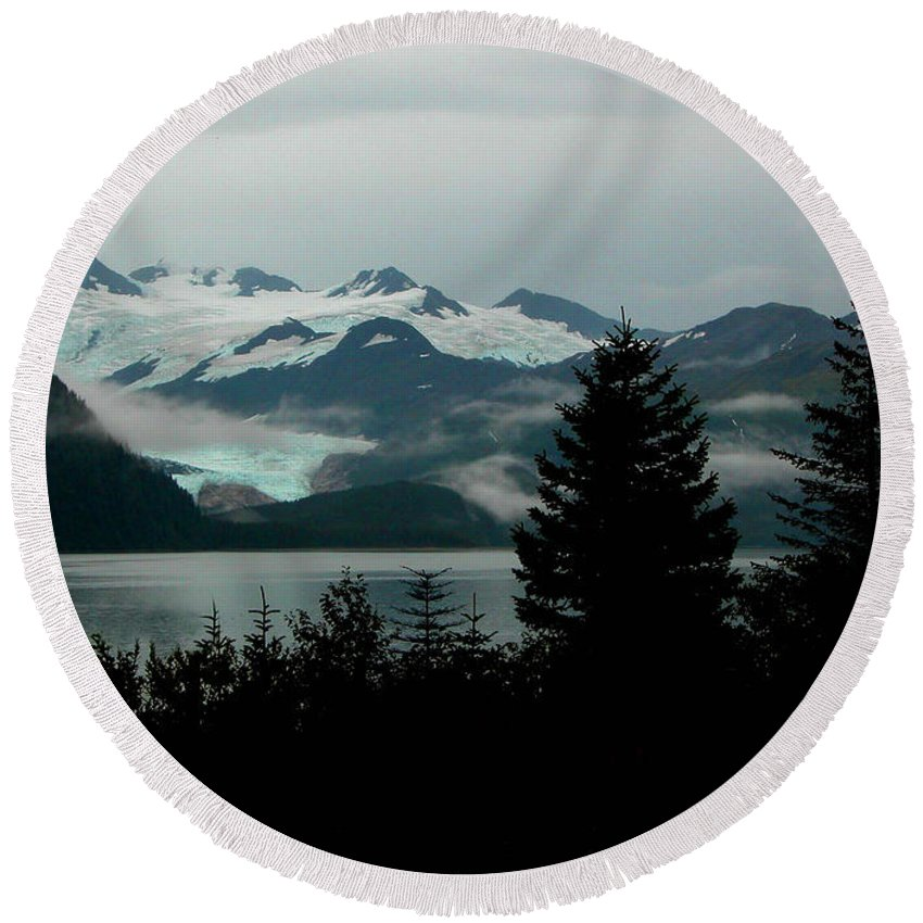 Black Round Beach Towel featuring the photograph Harriman Glacier by Peggy Starks