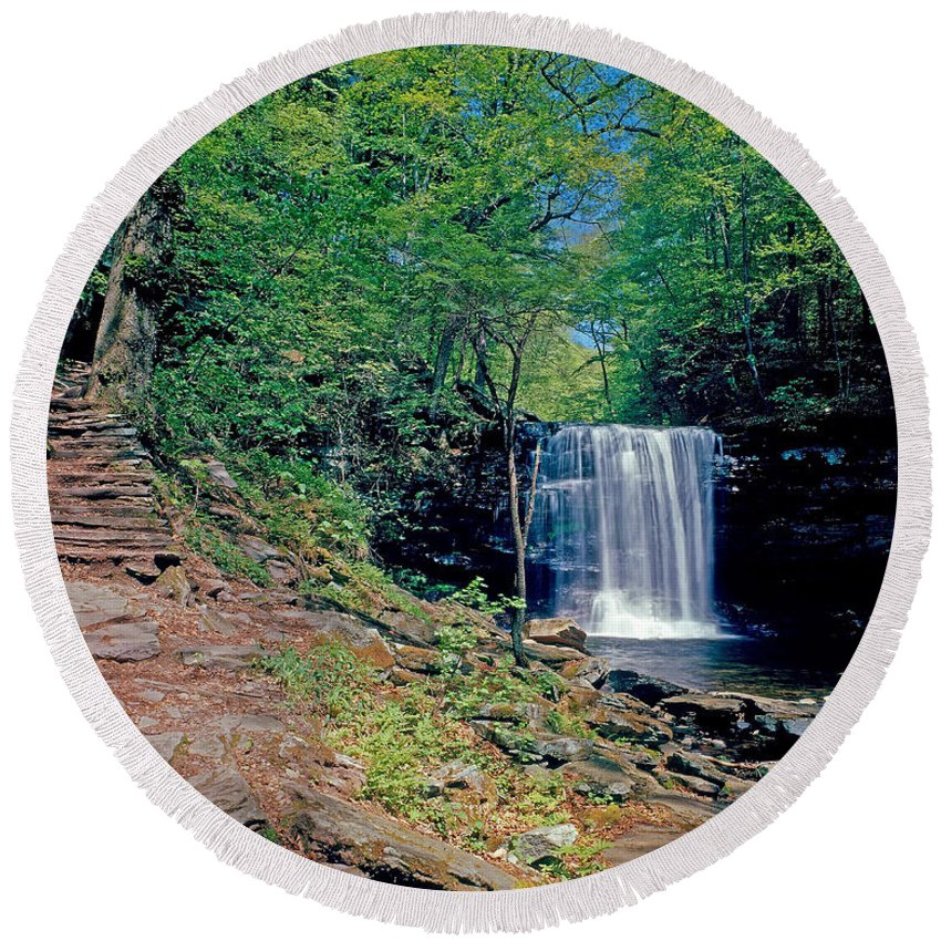 Pennsylvania Round Beach Towel featuring the photograph Harrison Wright Falls - Summertime by Rich Walter