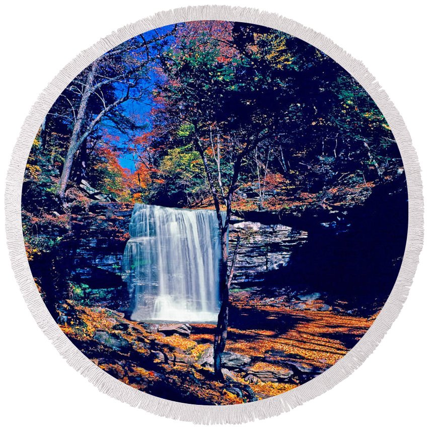 Pennsylvania Round Beach Towel featuring the photograph Harrison Wright Falls In Fall by Rich Walter