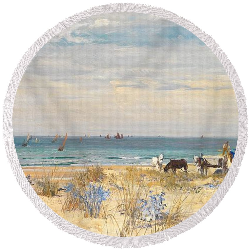 Boat Round Beach Towel featuring the painting Harvesting The Land And The Sea by William Lionel Wyllie